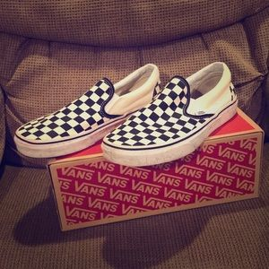 Vans Classic Slip On Black and White Checkerboard